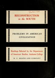 Cover of: Reconstruction in the South