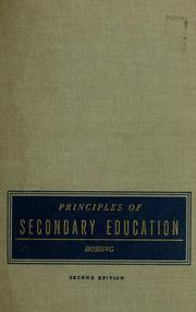 Cover of: Principles of secondary education