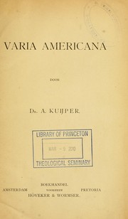 Cover of: Varia Americana