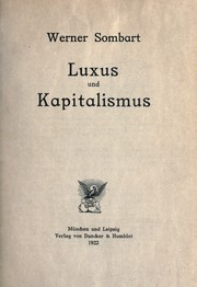 Cover of: Luxus und Kapitalismus