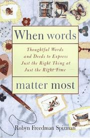 Cover of: When words matter most