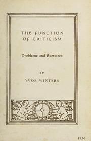 Cover of: The function of criticism