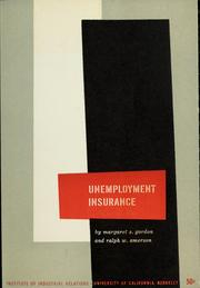Cover of: Unemployment insurance