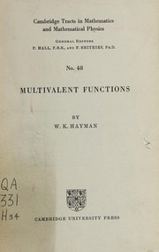 Cover of: Multivalent functions