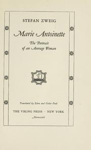 Cover of: Marie Antoinette, the portrait of an average woman: translated by Eden and Cedar Paul.