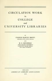 Cover of: Circulation work in college and university libraries