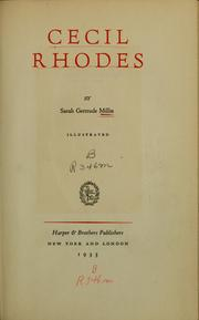 Cover of: Cecil Rhodes