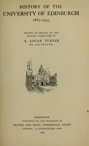 Cover of: History of the University of Edinburgh, 1883-1933