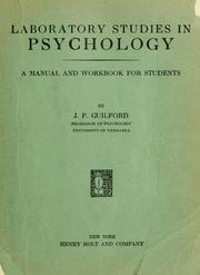Cover of: Laboratory studies in psychology: a manual and workbook for students
