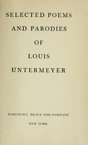 Cover of: Selected poems and parodies of Louis Untermeyer