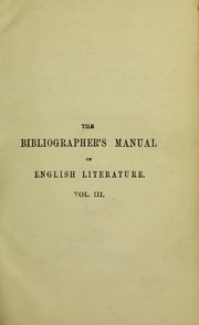 Cover of: The bibliographer's manual of English literature