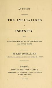 Cover of: An inquiry concerning the indications of insanity