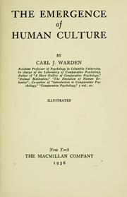 Cover of: The emergence of human culture