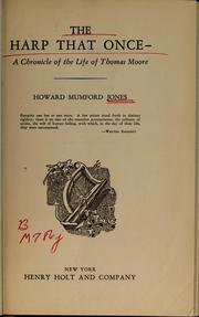 Cover of: The harp that once--: a chronicle of the life of Thomas Moore