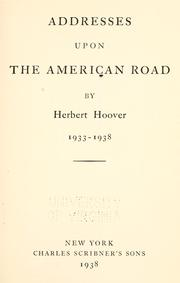 Cover of: Addresses upon the American road