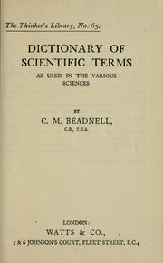 Cover of: Dictionary of scientific terms