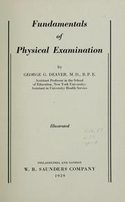 Cover of: Fundamentals of physical examination