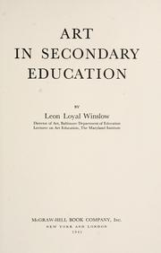 Cover of: Art in secondary education
