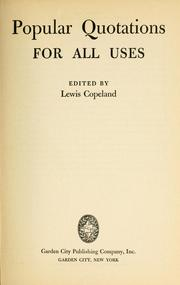 Cover of: Popular quotations for all uses