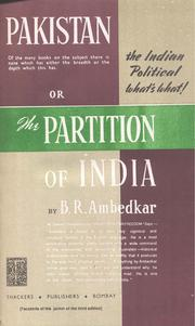 Cover of: Pakistan or partition of India