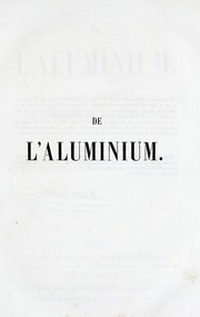 Cover of: De l'aluminium