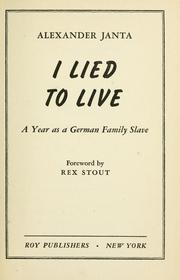 Cover of: I lied to live