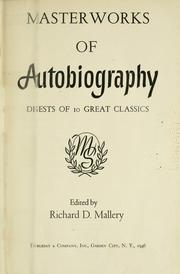 Cover of: Masterworks of autobiography