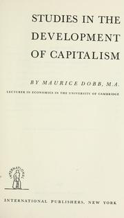 Cover of: Studies in the development of capitalism