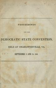 Cover of: Proceedings of the Democratic State Convention