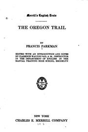 Cover of: The Oregon trail of Francis Parkman