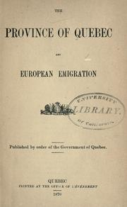 Cover of: The province of Quebec and European emigration