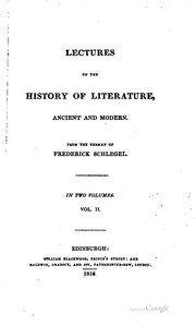Cover of: Lectures on the history of literature