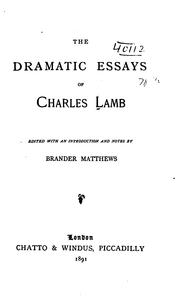 Cover of: The dramatic essays of Charles Lamb