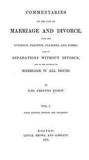 Cover of: Commentaries on the law of marriage and divorce