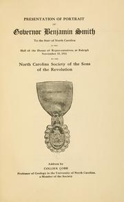 Cover of: Presentation of portrait of Governor Benjamin Smith to the state of North Carolina