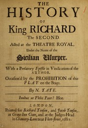 Cover of: The History of King Richard the Second