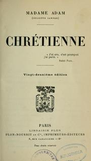 Cover of: Chrétienne ..