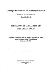 Cover of: Limitation of armament on the Great Lakes