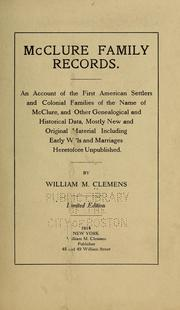 Cover of: McClure family records