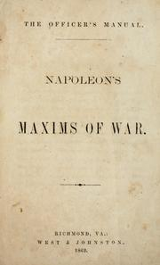 Cover of: Napoleon's maxims of war