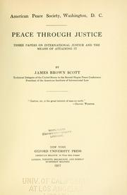 Cover of: Peace through justice