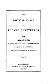 Cover of: The poetical works of Thomas Chatterton