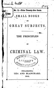 Cover of: On the principles of criminal law