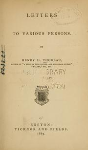 Cover of: Letters to various persons