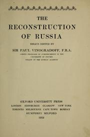 Cover of: The reconstruction of Russia: essays