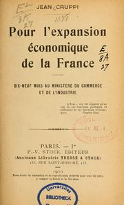 Cover of: Pour l'expansion économique de la France