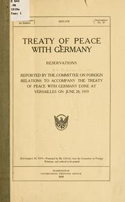 Cover of: Treaty of peace with Germany