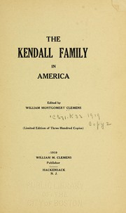Cover of: The Kendall family in America