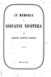 Cover of: In memoria di Giovanni Nicotera