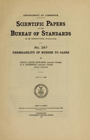 Cover of: Permeability of rubber to gases